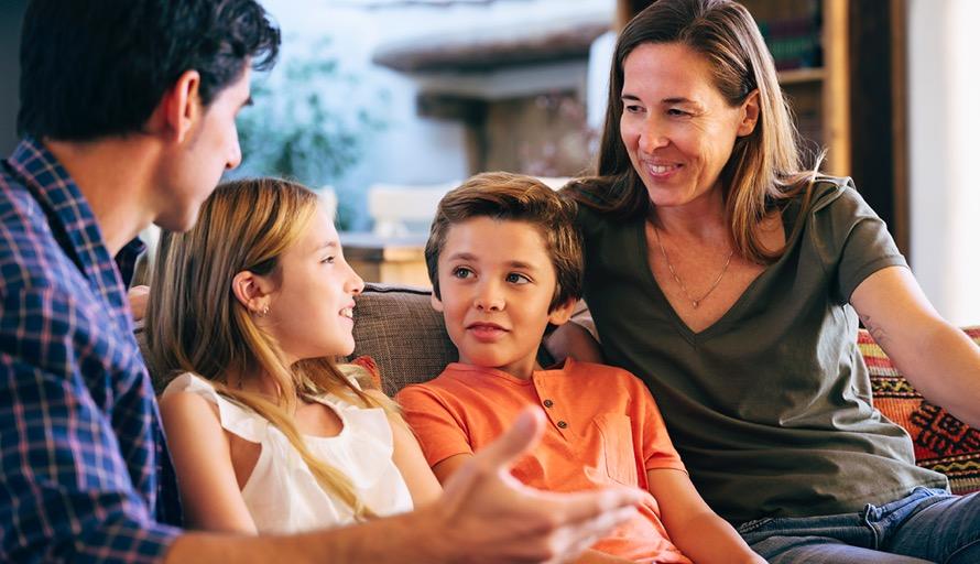 family talking